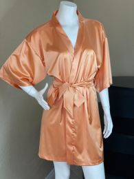 Golden Sunset Stretch Satin Lounge Kimono Robe