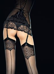 Sensual Sheer Black Stockings with Lace Print and Back Seam