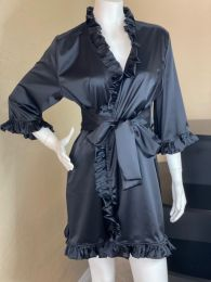 Regal Noir Stretch Satin Lounge Robe