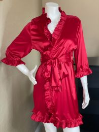 Crimson Seduction Stretch Satin Lounge Robe