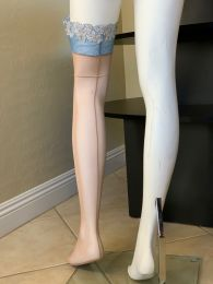Roma Baby Blue Lace Hand-Sewn Stockings