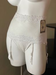 Roma Pearl White Lace Retro High-Waist Panty with Removable Garters